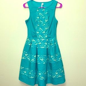 Lace Fit Flare Dress Tank Turquoise Floral Mini
